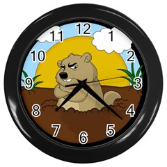 Groundhog Day Wall Clocks (black)