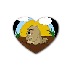 Groundhog Day Rubber Coaster (heart)