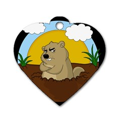 Groundhog Day Dog Tag Heart (two Sides)