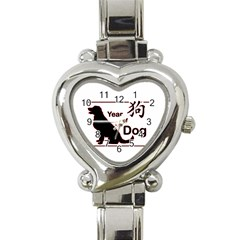 Year Of The Dog   Chinese New Year Heart Italian Charm Watch