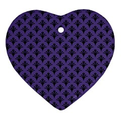 Color Of The Year 2018   Ultraviolet   Art Deco Black Edition  Heart Ornament (two Sides)