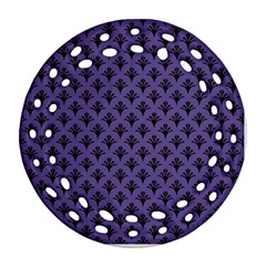 Color Of The Year 2018   Ultraviolet   Art Deco Black Edition  Round Filigree Ornament (two Sides)