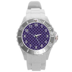 Color Of The Year 2018   Ultraviolet   Art Deco Black Edition  Round Plastic Sport Watch (l)