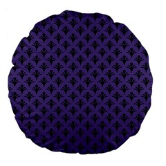Color Of The Year 2018   Ultraviolet   Art Deco Black Edition  Large 18  Premium Flano Round Cushions