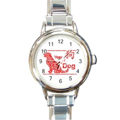 Year Of The Dog   Chinese New Year Round Italian Charm Watch