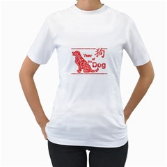 Year Of The Dog   Chinese New Year Women s T Shirt (white) (two Sided)
