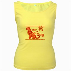 Year Of The Dog   Chinese New Year Women s Yellow Tank Top