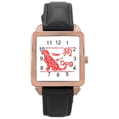 Year Of The Dog   Chinese New Year Rose Gold Leather Watch
