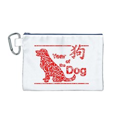 Year Of The Dog   Chinese New Year Canvas Cosmetic Bag (m)