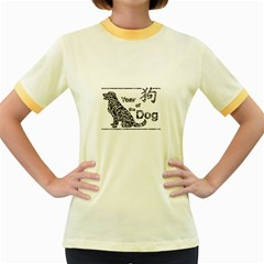 Year Of The Dog   Chinese New Year Women s Fitted Ringer T Shirts