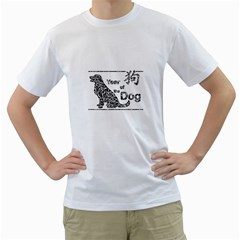 Year Of The Dog   Chinese New Year Men s T Shirt (white) (two Sided)