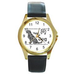 Year Of The Dog   Chinese New Year Round Gold Metal Watch