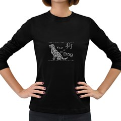 Year Of The Dog   Chinese New Year Women s Long Sleeve Dark T Shirts