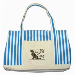 Year Of The Dog   Chinese New Year Striped Blue Tote Bag