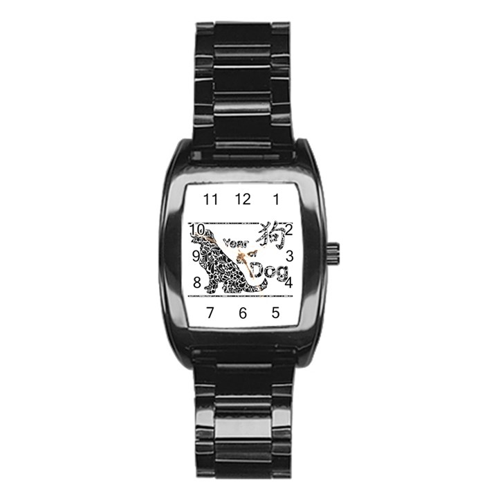 Year of the Dog - Chinese New Year Stainless Steel Barrel Watch