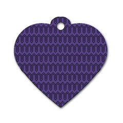 Color Of The Year 2018   Ultraviolet   Art Deco Black Edition Dog Tag Heart (one Side)