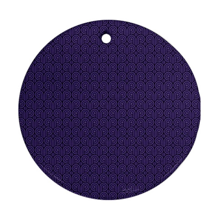 Color of the Year 2018 - Ultraviolet - Art Deco Black Edition Round Ornament (Two Sides)