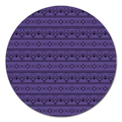Color Of The Year 2018   Ultraviolet   Art Deco Black Edition Magnet 5  (round)