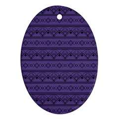 Color Of The Year 2018   Ultraviolet   Art Deco Black Edition Oval Ornament (two Sides)