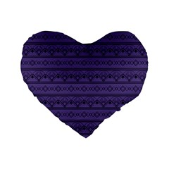 Color Of The Year 2018   Ultraviolet   Art Deco Black Edition Standard 16  Premium Flano Heart Shape Cushions