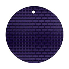 Color Of The Year 2018   Ultraviolet   Art Deco Black Edition Round Ornament (two Sides)