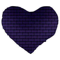Color Of The Year 2018   Ultraviolet   Art Deco Black Edition Large 19  Premium Heart Shape Cushions