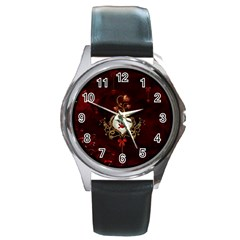 Wonderful Hearts With Dove Round Metal Watch
