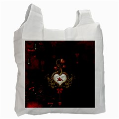 Wonderful Hearts With Dove Recycle Bag (one Side)