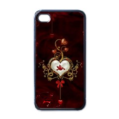 Wonderful Hearts With Dove Apple Iphone 4 Case (black)