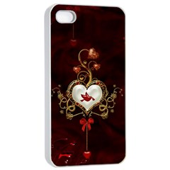 Wonderful Hearts With Dove Apple Iphone 4/4s Seamless Case (white)