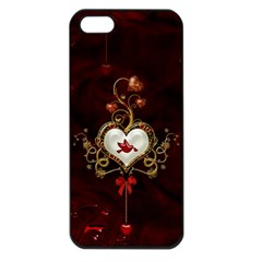 Wonderful Hearts With Dove Apple Iphone 5 Seamless Case (black)