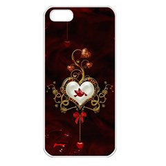 Wonderful Hearts With Dove Apple Iphone 5 Seamless Case (white)