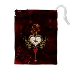 Wonderful Hearts With Dove Drawstring Pouches (extra Large)