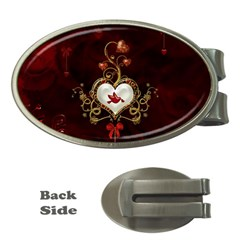 Wonderful Hearts With Dove Money Clips (oval)