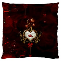 Wonderful Hearts With Dove Standard Flano Cushion Case (one Side)