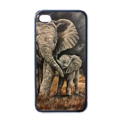 Elephant Mother And Baby Apple Iphone 4 Case (black)