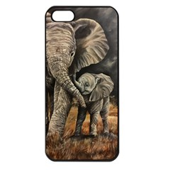Elephant Mother And Baby Apple Iphone 5 Seamless Case (black)