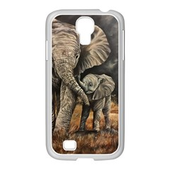 Elephant Mother And Baby Samsung Galaxy S4 I9500/ I9505 Case (white)
