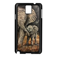 Elephant Mother And Baby Samsung Galaxy Note 3 N9005 Case (black)