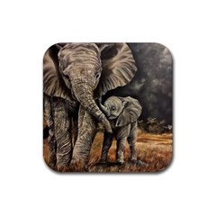 Elephant Mother And Baby Rubber Square Coaster (4 Pack)