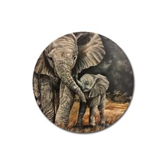 Elephant Mother And Baby Magnet 3  (round)