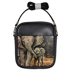 Elephant Mother And Baby Girls Sling Bags