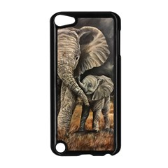 Elephant Mother And Baby Apple Ipod Touch 5 Case (black)