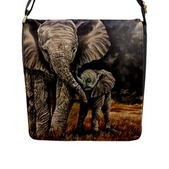 Elephant Mother And Baby Flap Messenger Bag (l)