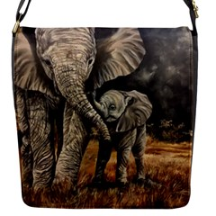 Elephant Mother And Baby Flap Messenger Bag (s)