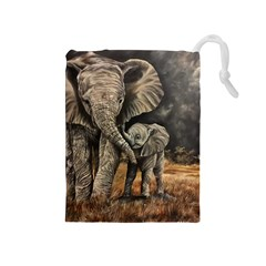 Elephant Mother And Baby Drawstring Pouches (medium)