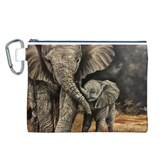 Elephant Mother And Baby Canvas Cosmetic Bag (l)