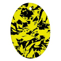 Yellow Black Abstract Military Camouflage Ornament (oval)