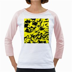 Yellow Black Abstract Military Camouflage Girly Raglans