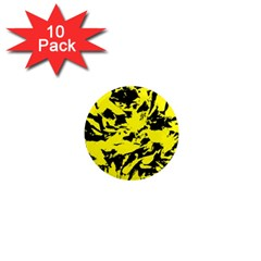 Yellow Black Abstract Military Camouflage 1  Mini Magnet (10 Pack)